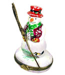 Rochard snowman with broom limoges box