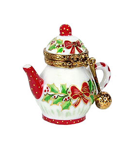 noel teapot with strainer Limoges box