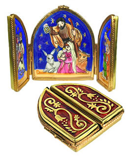 triptych with nativity scene Limoges box