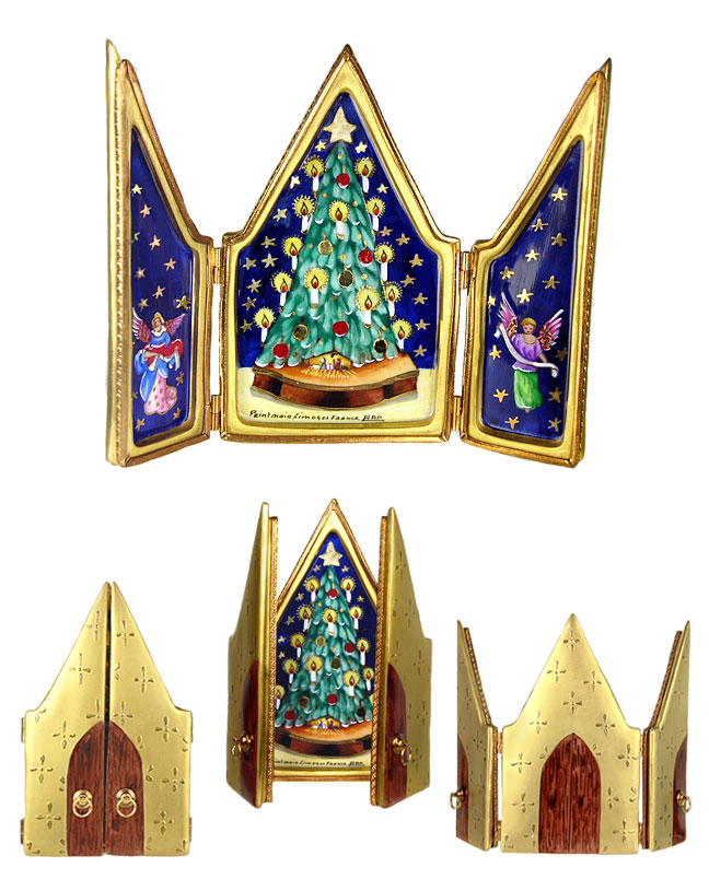Rochard limoges box triptych with Christmas tree, stars and angels