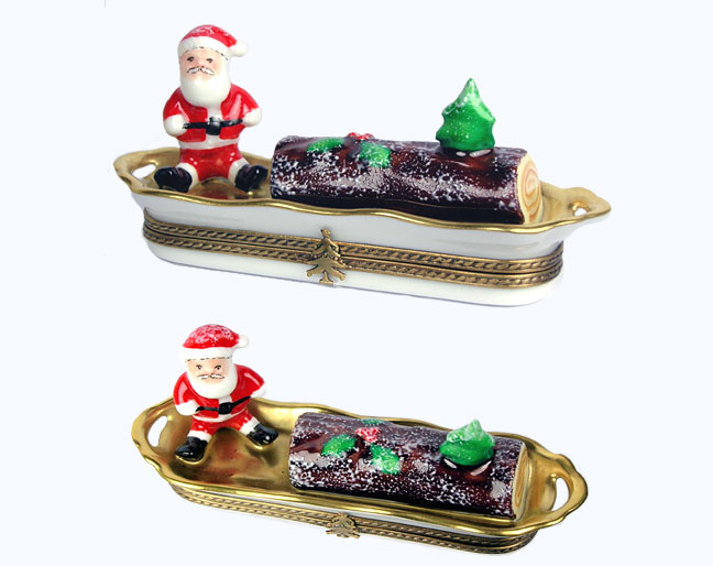 Yule log Limoges box with Santa and Christmas Tree Limoges box