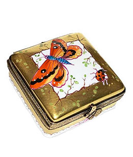 classic square Limoges box  - gold with butterflies