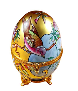 Rochard Special Collection gold egg with birds Limoges box