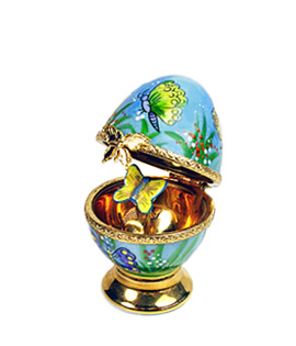 Limoges box small egg with butterfly decor and butterfly on stem