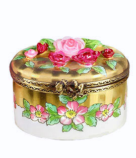 elegant classic Limoges box - gold stripes with rose