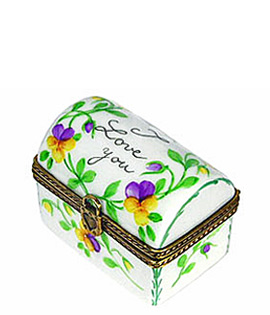 Limoges box small I love you trunk with pansies