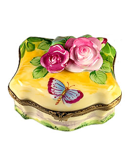 Limoges box classic shape with roses and butterfly