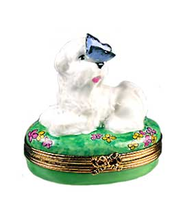Bichon Frise resting with butterfly Limoges box