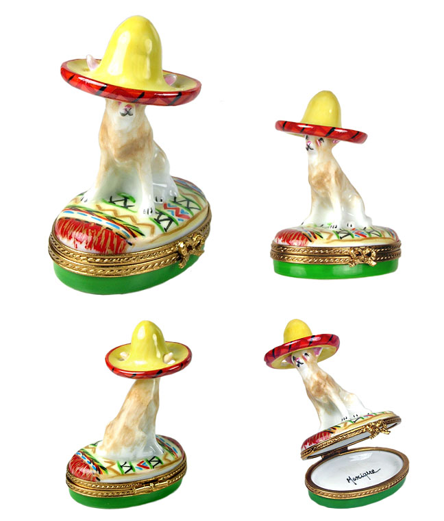 chihuahua with sombrero limoges box - rochard