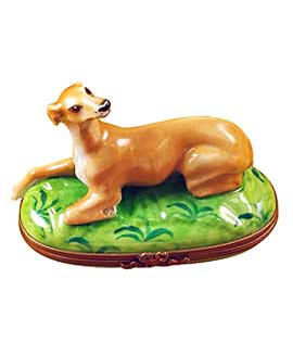 Resting Greyhound dog Limoges box
