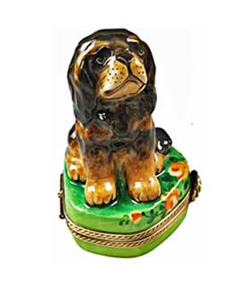 Black and tan King Charles Spaniel Limoges box