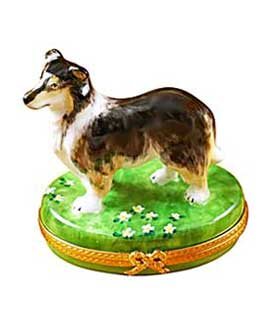 Sheltie dog Limoges box