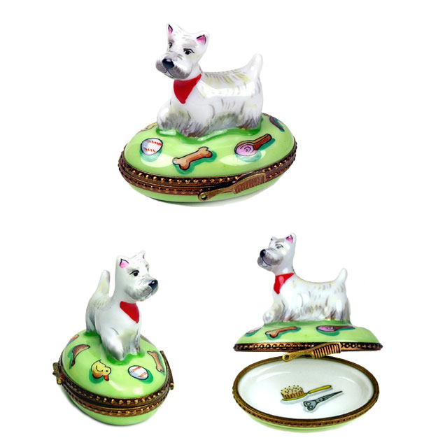 westie with toys limoges box