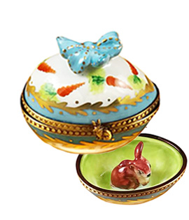 Limoges box blue and white egg with hiding bunny
