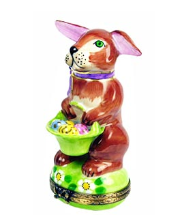 Limoges box brown bunny with egg basket