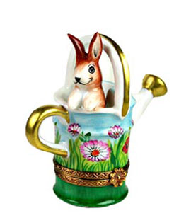 Limoges box bunny in flowered watering can