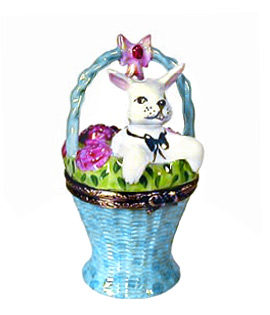 Limoges box white rabbit in basket
