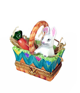 Limoges box in tulips decor with bunny and carrot