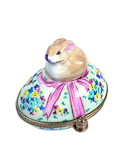Limoges box bunny on flowered Easter egg