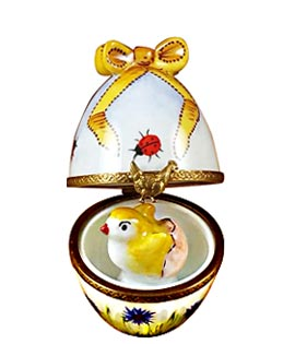 chick hatching in floral Limoges box egg with bow