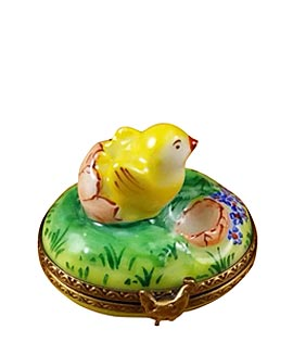 Limoges box spring chick hatching from egg