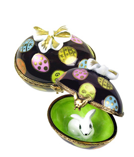 Chocolate egg Limoges box with bunny hiding