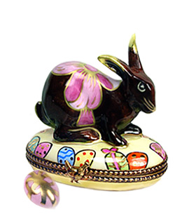 Limoges box Chocolate bunny with pink bow and egg