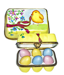 Limoges box carton of colored Easter eggs