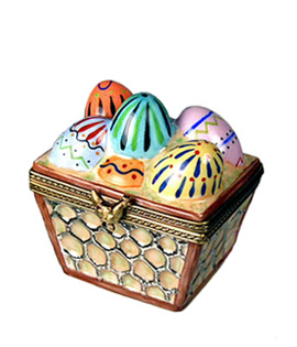 Limoges box crate of painted eggs