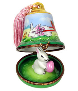 Limoges box Easter bell with tassel and bunny with egg inside