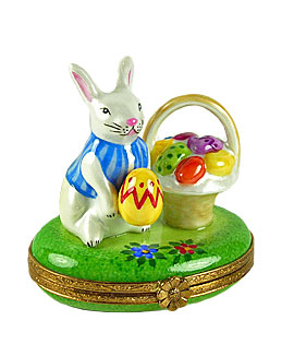 Easter bunny Limoges box with easter eggs basket