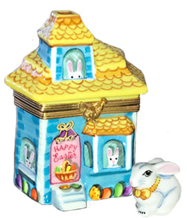 Easter bunnies house Limoges box with removable bunny