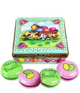 Easter Macarons in carton Limoges box
