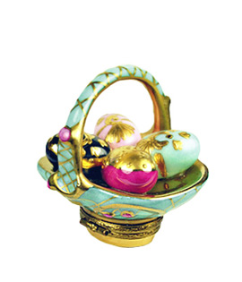 Aqua and gold Easter basket Limoges box with eggs