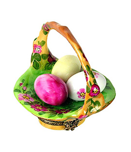 Limoges box flowered basket with painted eggs