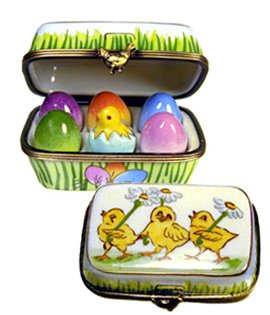 Rochard Limoges box carton of colored Easter eggs with chick