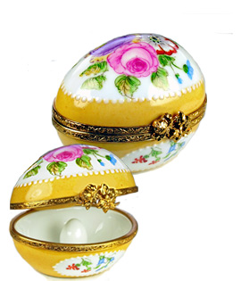 Limoges box classic flowered egg with small egg inside
