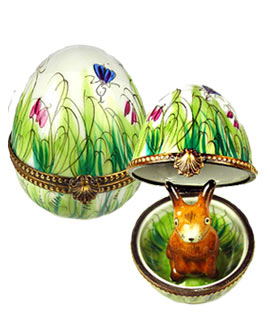 Limoges box painted egg with brown bunny