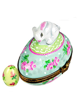 Limoges box bunny on floral egg with matching inside small egg