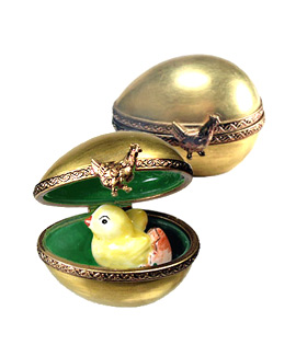 small gold egg with hatching chick Limoges box