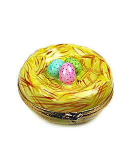 Limoges box bird's nest with colored eggs