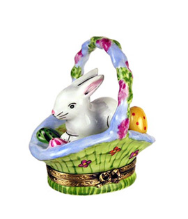 Limoges box white bunny in blue flowered basket