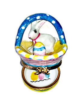 Limoges box white rabbit in colorful basket