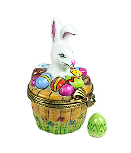 white rabbit in basket of decorated eggs Limoges box