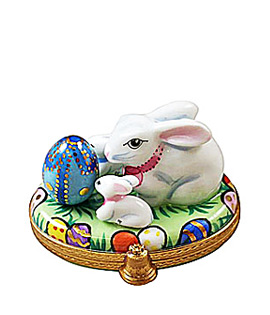 White Bunny with Babies and Easter Egg