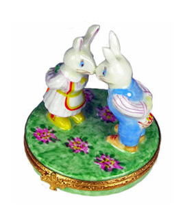 Rabbit sweethearts giving gifts Limoges box
