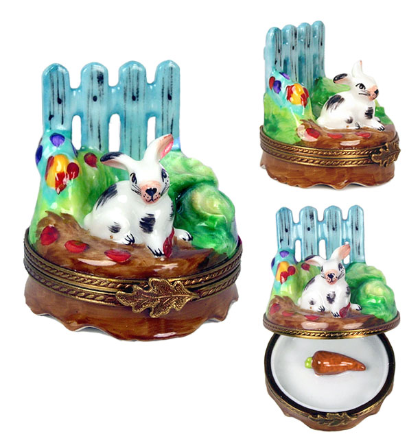 rabbit by garden fence Limoges box