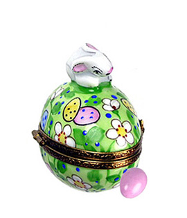 Limoges box bunny on flowered egg with removable pink egg from Rochard