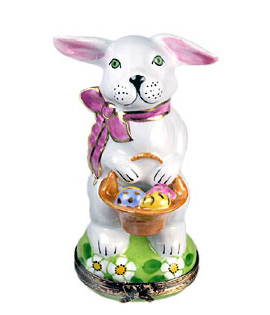 Limoges box White Rabbit with basket of eggs