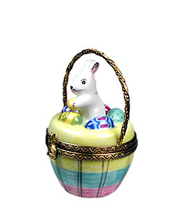 Limoges box bunny in rainbow stripe basket